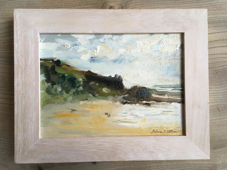 """Selina Wilson (British, B.1986) """"Gullane Beach"""", oil on canvas, signed to lower right, signed and - Image 7 of 7"""