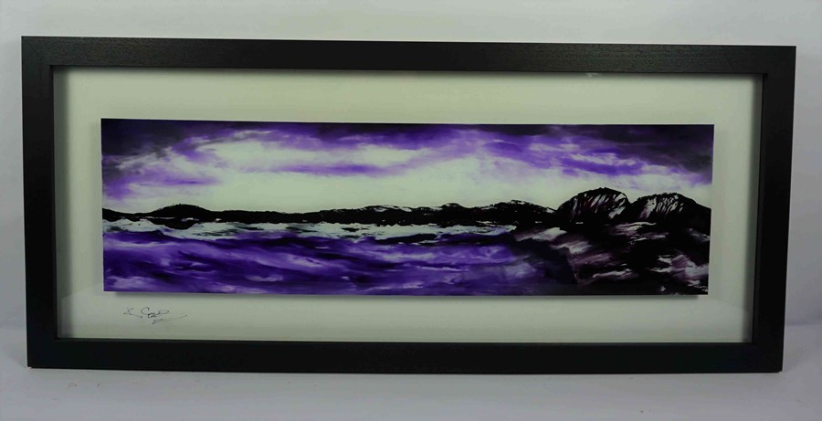 "Lot 57 - Ken Cowins (English, B.1955) ""Islands View"", oil on glass, signed lower left on glass, certificate"