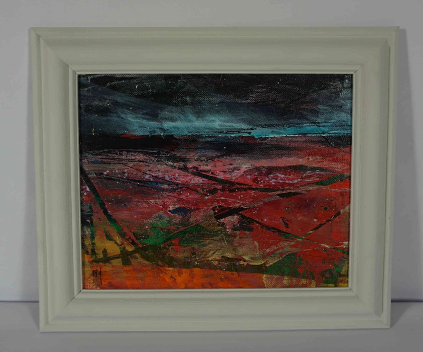 """Fiona Matheson BA(Hons) (Scottish, B.1964) """"Crimson Fields"""", oil on board, signed with artist - Image 2 of 5"""