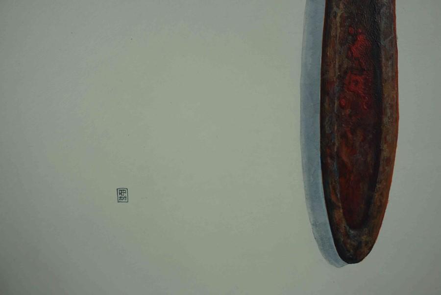 "Lot 54 - Eddie Potts (British, B.1959) ""Stilson V"", acrylic, signed and dated 2017, 59cm x 36cm (Framed"