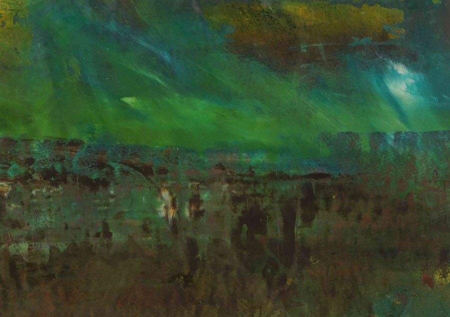 "Fiona Matheson BA(Hons) (Scottish, B.1964) ""Peaty Fields"", mixed media, signed to lower right, - Image 3 of 5"