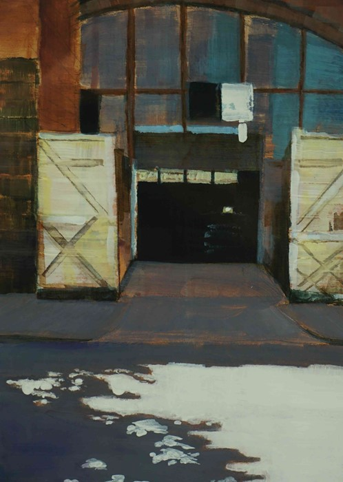 """Lot 29 - Lindsey Lavender SSA (British, B.1970) """"Forge"""",acrylic on paper, initials to lower left, artist"""