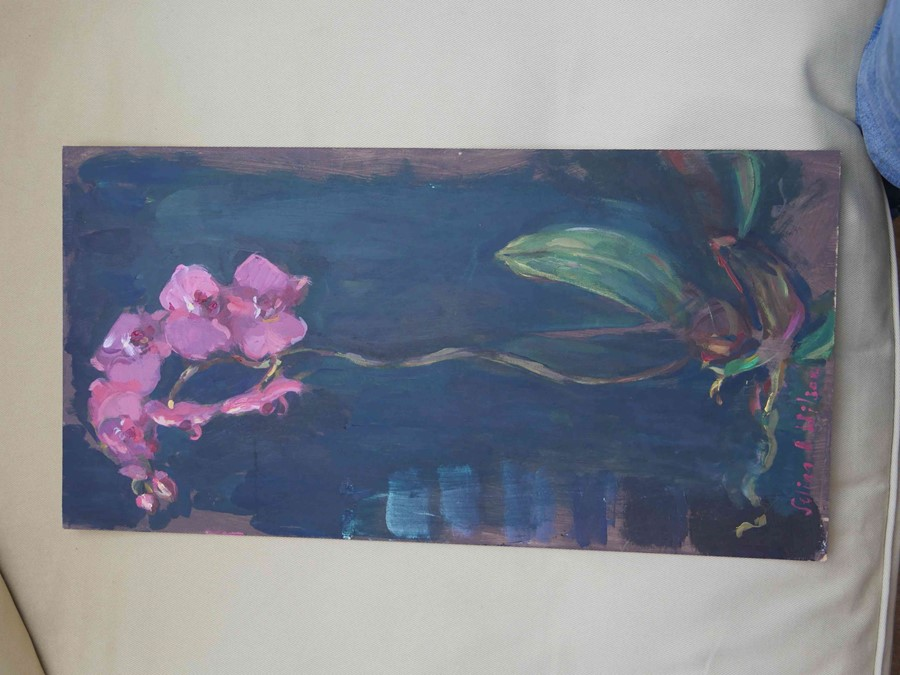 """Selina Wilson (British, B.1986) """"Pink Orchid"""", acrylic on board, signed to lower left, signed and - Image 5 of 6"""