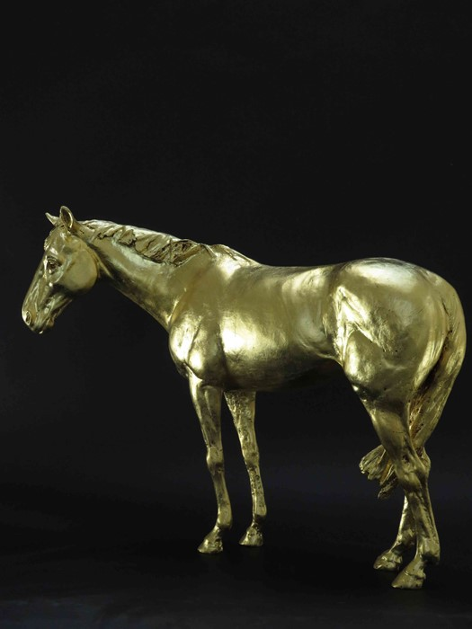 "Frippy Jameson (British, B.1978) ""Racehorse in Gold II"", 24 Carat European gold leaf bronze, - Image 2 of 5"