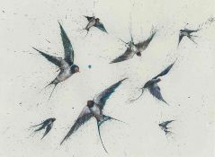 "Clare Brownlow (British, B.1983) ""Flying Swallows"", pheasant feathers & ink, signed to lower"