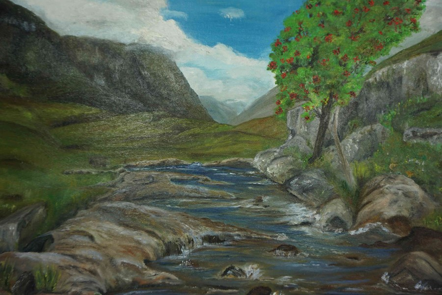 """Lot 26 - Anne White (Scottish, B.1960) """"As Winter Approaches, Glencoe"""" oil, signed to lower right, 51cm x"""