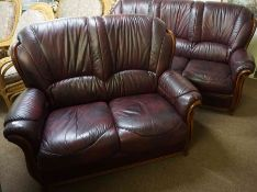 Burgundy Leather Three Seater Sofa, With matching two seater Sofa, Three Seater Sofa 94cm high,