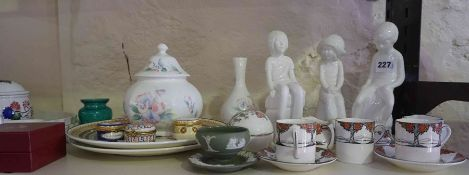 Quantity of Porcelain, To include Spode figures of Simon, Michael and Joanna, Part Crown Ducal