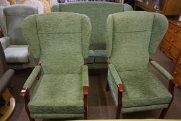 Vintage Style Three Piece Lounge Suite, Upholstered in green fabric, Comprising of a two seater