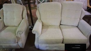 G-Plan Two Seater Sofa, With matching Recliner Armchair, Upholstered in cream fabric, Sofa 83cm
