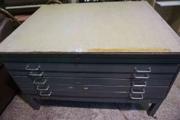 Metal Plan Chest, Having five drawers, 82cm high, 130cm wide, 100cm deep