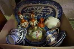 Box of 19th century and Later Ceramics, To include a Canton Famille Rose vase cover, A pair of