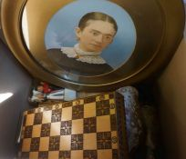 Two Boxes of Sundries, To include a Chess Set, Dolls etc, Also with two Suitcases and Portrait