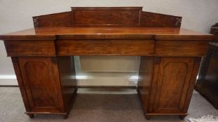 Victorian Mahogany Pedestal Sideboard, Having a pediment top above a central drawer, Flanked with