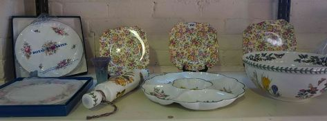 Mixed Lot of Porcelain, To include a Portmeirion Botanical Garden Bowl and Rolling Pin, Two Boxed