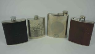 Ten Assorted Stainless Steel Hip Flasks, One example having panels of Golfers, 10cm, 13cm, 15cm,