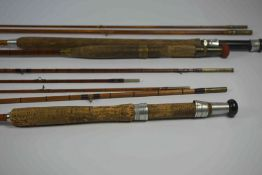Eaton & Deller of London, Three Piece Greenheart Fishing Rod, 288cm long, Also with two similar