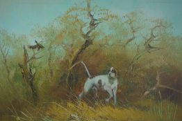 """British School """"Hound in the Woods"""" Oil on Canvas, Indistinctly signed to lower right, 39cm x"""