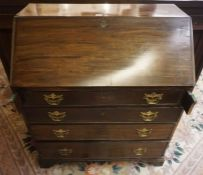 Mahogany Writing Bureau, circa 19th century, Having a Fall front enclosing fitted drawers and Pigeon