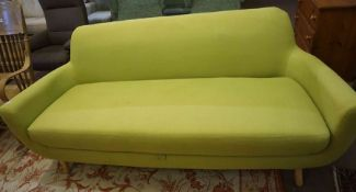 Contemporary Three Seater Sofa, Upholstered in a Lime green Fabric, 80cm high, 195cm wide, 80cm