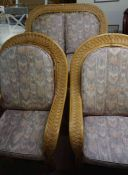 Wicker Three Piece Conservatory Suite, Comprising of Sofa with a pair of Armchairs, Sofa 103cm high,