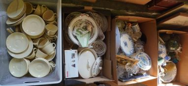 Four Boxes of Sundry China and Glass, To include a Victorian Glasgow style jug, Masons chamber