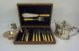 Part Silver Banded Fish Service, Comprising of Servers, Four Knives and Forks, Also with two