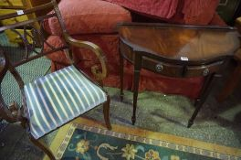 Reproduction Hall Table, Having two small drawers, With a Carver Armchair, Table 75cm high, 75cm