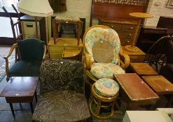 Mixed Lot of Furniture, To include a Folding table, Chairs, Wall Mirror, Chest of Drawers, Floor