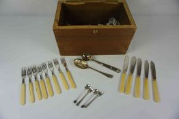 Quantity of Loose Silver Plated Cutlery, Mostly Bone handled, Also with two Silver Pickle Knives and
