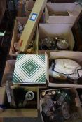 Eight Boxes of Sundries, To include China and Glass, Projector screen, Dress Hat in Box, Silver
