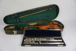 A J Michael, Three Piece Flute, 73cm long, In a Fitted case, Also with a Childs Violin with Bow,