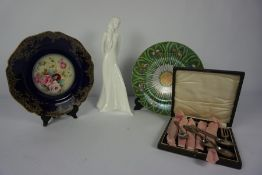 Pair of Chinese Famille Verte Plates (20th century) 21.5cm Diameter, Also with a set of Six Silver