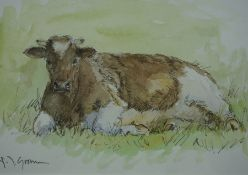 """Frits Goosen """"Cow"""" Watercolour, Signed to lower left, 11cm x 16.5cm"""