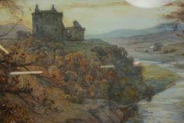 "James Kinnear (Scottish Fl 1880-1917) ""Niedpath Castle Peebles"" Watercolour, Signed lower left, 34cm"