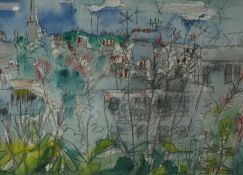 """Sax Shaw (Scottish 1916-2000) """"Television Aerials"""" Watercolour, Signed to lower right, 14.5cm x"""