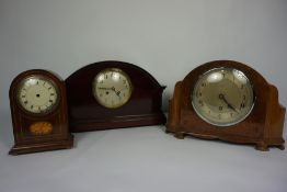 Two Vintage Cased Mantel Clocks, Cased in Walnut and Mahogany, Also with an Edwardian Mahogany Clock