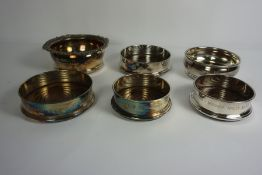 Six Victorian and Later Silver Plated Wine Slides, All Having Wood Lined Interiors, Some examples