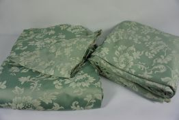 Four Matching Fabric Curtains, Decorated with Floral panels on a Pale Green ground, Drop 211cm,