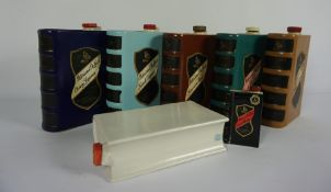 Six Vintage Govancroft Pottery Liquer Flasks, Modelled as Books, For Patersons Irish Whiskey,