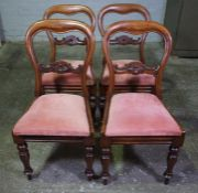 Set of Four Victorian Mahogany Dining Chairs, Having Later Upholstered Drop in Seats, 86cm high, (