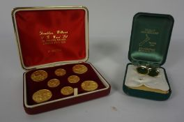Donaldson Williams of London, Set of Eight Gilt Metal Hunting Buttons, In a Fitted Box, Also with