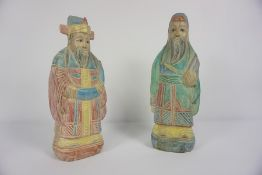 Pair of Oriental Painted Wood Figures, Modelled as two Male Immortal Figures, 34cm high, (2)