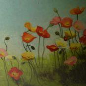 "V. V Novak (20th century) ""Still Life of Flowers in the Field"" Acrylic, Signed Novak to lower"