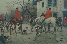 After G Wright, Two Hunting Prints, 30cm x 46cm, In Rosewood Frames, Also with Assorted Hunting