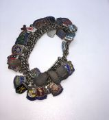 Silver and Enamel Charm Bracelet, Gross weight 91.1 Grams