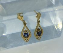 Pair of 9ct Gold Gemstone and Diamond Pear Shaped Earrings, Stamped 375, The Earrings measuring