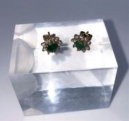 Pair of Cluster Earrings, On a Yellow Metal Mount, The Earrings measuring approximately 1cm, (2)