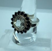 Rock Crystal and Gemstone Ladies Cluster Ring, Set with a Large Rock Crystal, Measuring