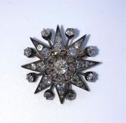 Victorian Ray Star Diamond Brooch, Set with old round Brilliant cut Diamonds, Mounted in Silver on